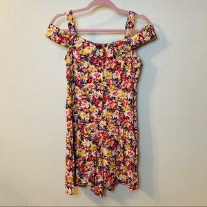 Vintage 90's Floral Off-Shoulder Button Up Romper
